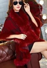 Faux Fur Coat New Winter Luxury Fashion Faux Fox Fur Poncho Bat Sleeve Long Plaid Knitted Cardigan Shawl Cape Cashmere Coat(China)