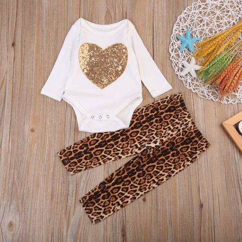 2Pcs Newborn Infant Baby Girls Outfit Clothes Set Kids Sequins LOVE Cotton Long Sleeve Romper+Leopard Pants Kids Clothing Sets
