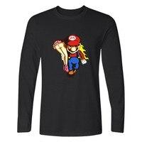 Harajuku Long Sleeve Game Super Mario T Shirt Men Cartoon Pattern Super Mariorun T Shirt Men