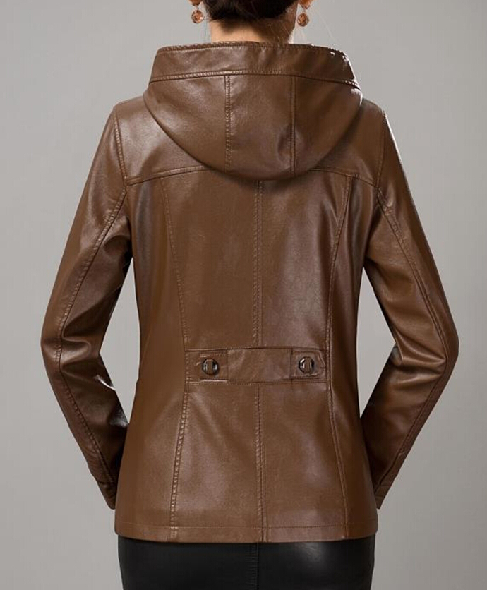 Female Leather Jacket With Hood - Jacket