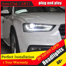 Auto Clud Car Styling for Audi A4 Headlights High Configuration A4 B9 LED DRL Lens Double