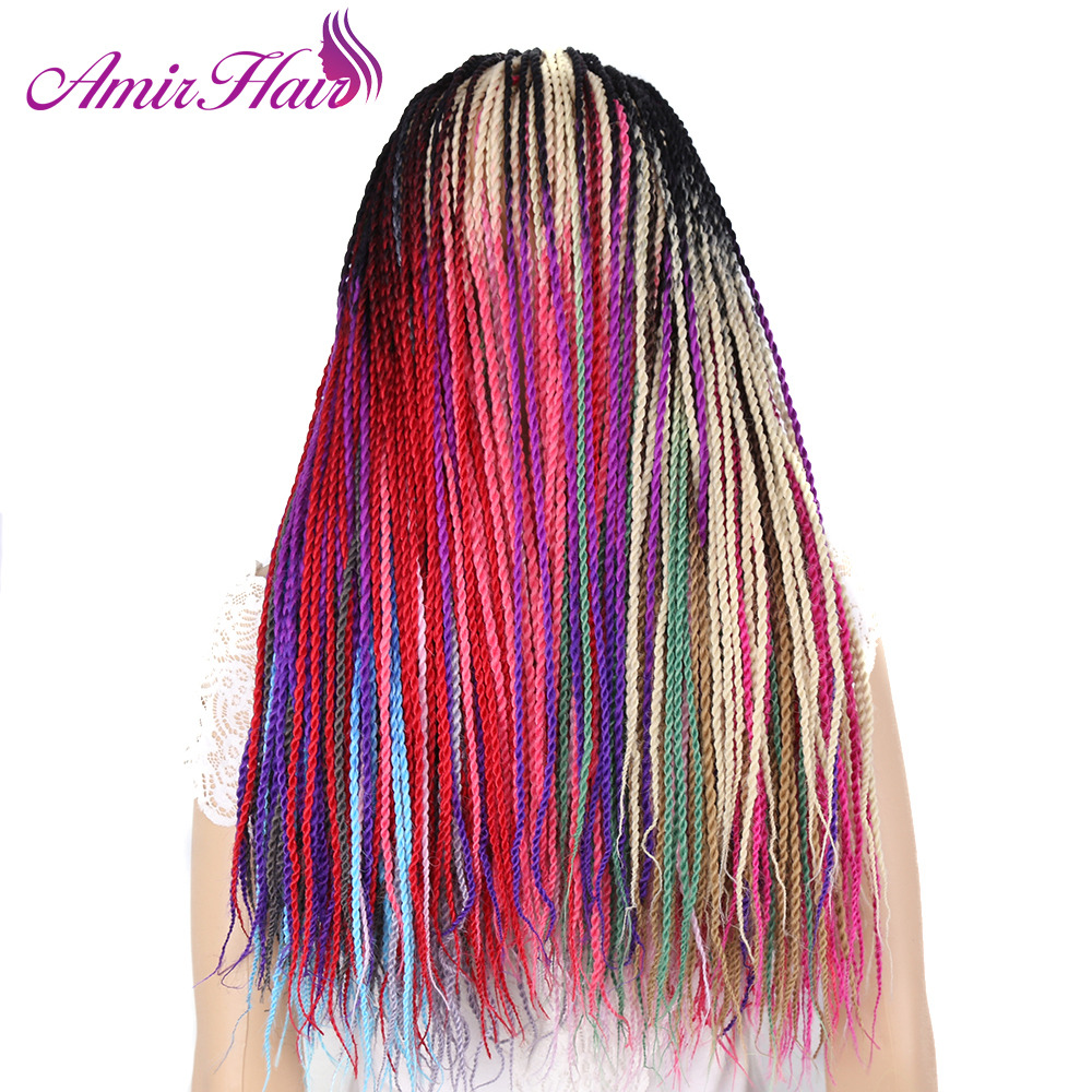 Amir 24inch 30roots Senegalese Twist Hair Crochet Braid Extensions Ombre Jumbo Synthetic Hair For Braiding