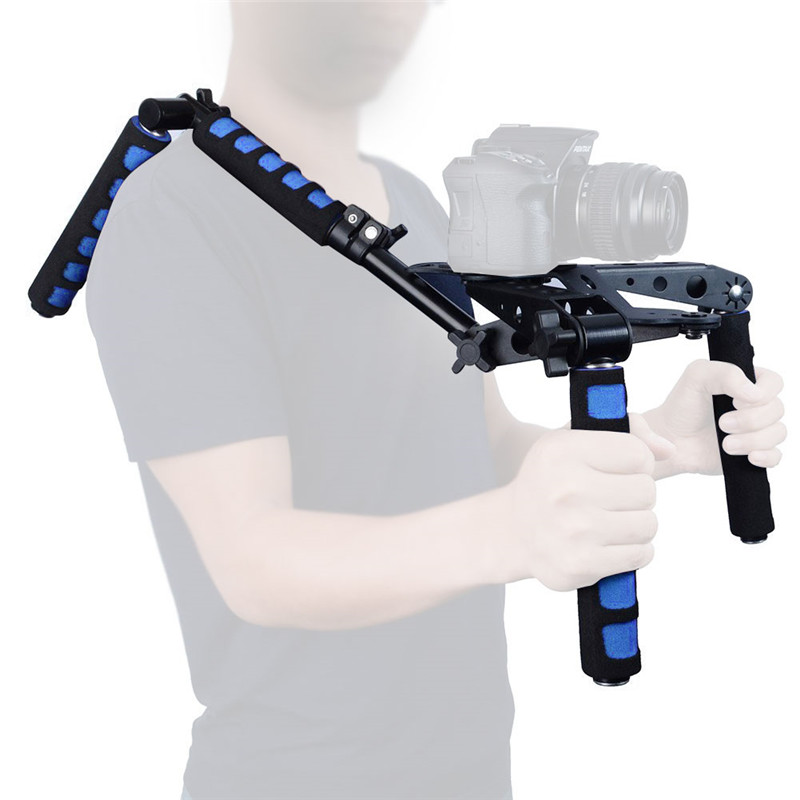Blue DSLR Rig Movie Kit Shoulder Mount Support for Camera Canon 5D II III 7D 600D D90 Free Shipping male masturbator cup artificial vagina pussy virgin mini lifelike pocket pussy sucking masturbation cup adult sex toys b2 1 20