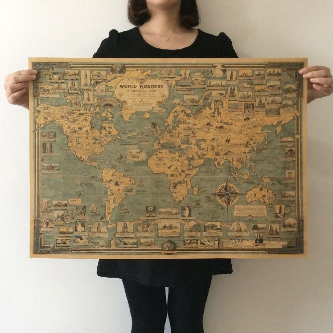 Vintage World Map Great Building Retro Hărți Kraft Hârtie Poster Vopsea Vintage autocolant de perete Artă Meșteșuguri Hărți bar Decor 67x51cm