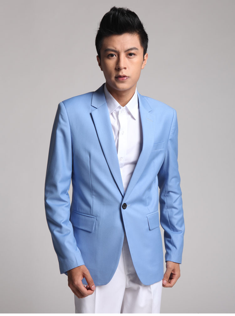 Aliexpress.com : Buy Sky Blue Blazer for Men 1 Button Suit Jacket