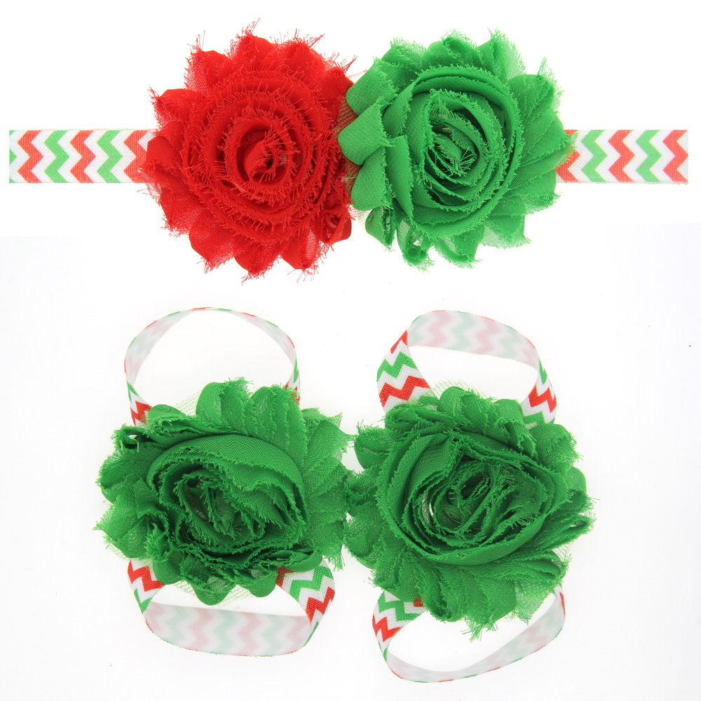 THBOXES Christmas Baby Girls Barefoot Sandals Newborn Infant Flower Shoes Red&green Color Chiffon Flower Headband Photo Props
