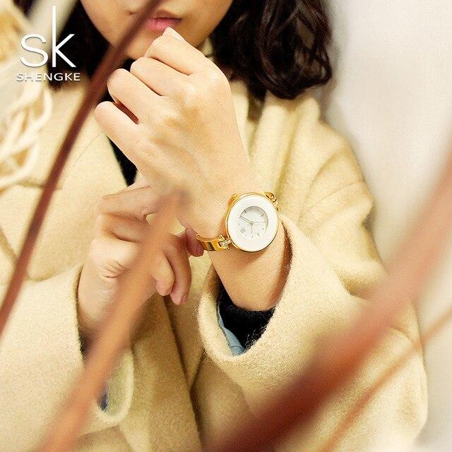 ShengKe Luxury Gold Women Watches Minimalism Fashion Stainless Steel Lady's Golden Bracelet Watch Wristwatch Female Gift Clock 3