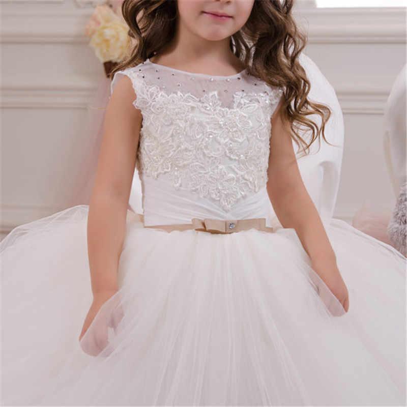 לבן פרח שמלת ילדה ילדים תחרות יום הולדת צד פורמלי תחרה ארוך שמלת Bowknot ראשית הקודש שמלת נשף שמלת 2-14Y