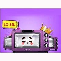 LO-15L Mini horno multifunción de 15l  horno eléctrico de 220 V/ 50 Hz 1200 W 100-230 grados  carcasa de acero inoxidable púrpura
