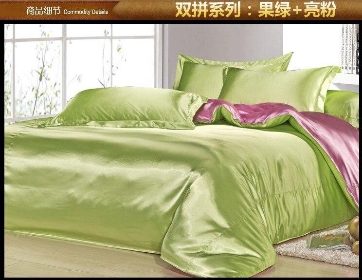 Elma Yeşil pembe ipek yatak seti saten çarşaf kraliçe tam yorgan nevresim süper kral yatak örtüleri çarşaf çift lüks
