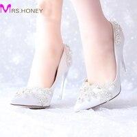 Rose De Mariée En Satin De Mariée Chaussures Argent Cristal Bout Pointu Plate-Forme Chaussures Pageant Parti Pompes Mère de La Mariée Chaussures