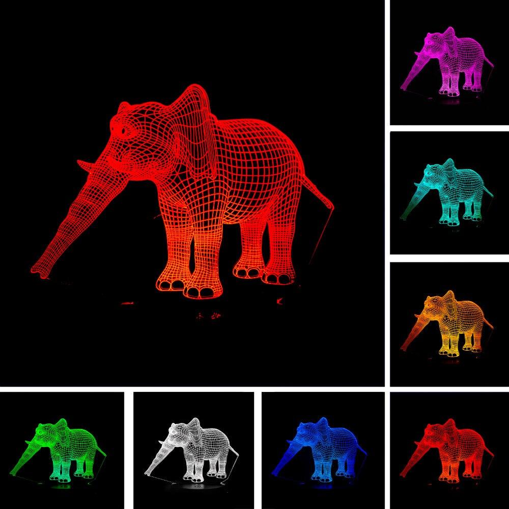 Luzes da Noite lindo elefante 3d ilusão led Potência : 0-5 w