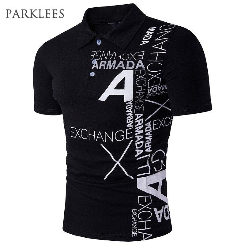 Letter Printed   Polo   Shirt Men 2017 Summer Fashion Short Sleeve Mens Casual   Polo   Homme Turn Down Collar Hip Hop Man Camisa   Polo