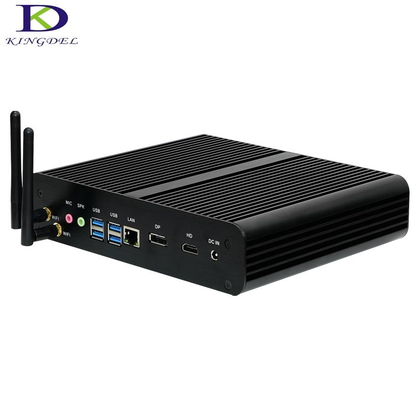 Kingdel Ultra Compact PC,Fanless Mini Computer,i7 6th Gen. SKYLAKE CPU,16GB RAM,256GB SSD+1TB HDD,HDMI,DP,4USB3.0,Wifi,Windows10
