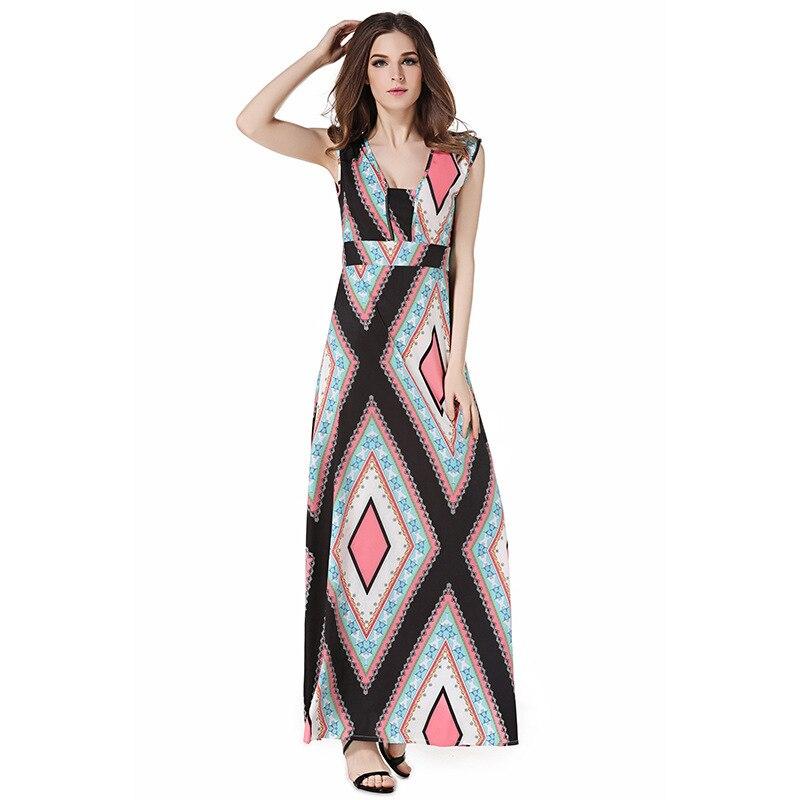 С геометрическим принтом Square привести платье без рукавов пикантные Талия Longuette