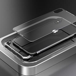 Image 4 - آيفون X 7 8 Plus حقيبة لهاتف أي فون 11 برو ماكس الأسود واقية الطائرات الوفير المعادن برغي هاتف محمول مع شفاف عودة الزجاج المقسى