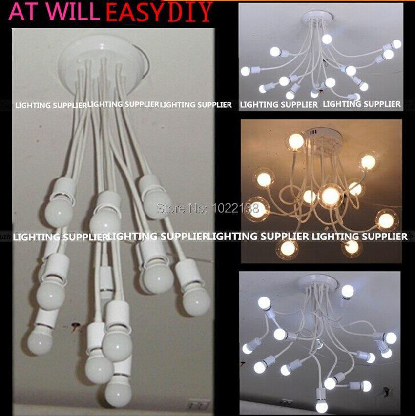 2 ensembles 10 tête E27 pendentif LED porte-lampe araignée suspendue salle à manger lampe base LED lustre convertisseur chambre prise + ampoule