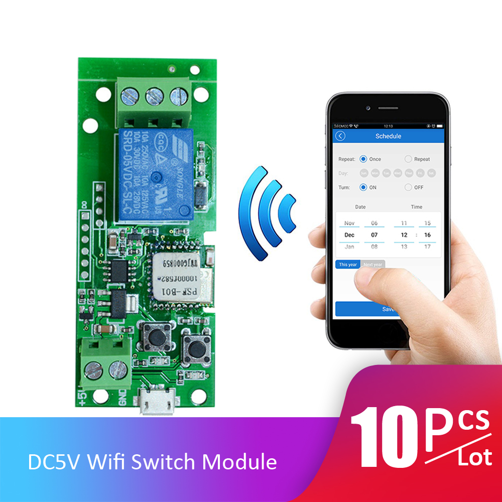 10pcs Lot DC5V Wifi Switch Wireless Relay Module Smart Home Automation Modules APP Remote Control Timer