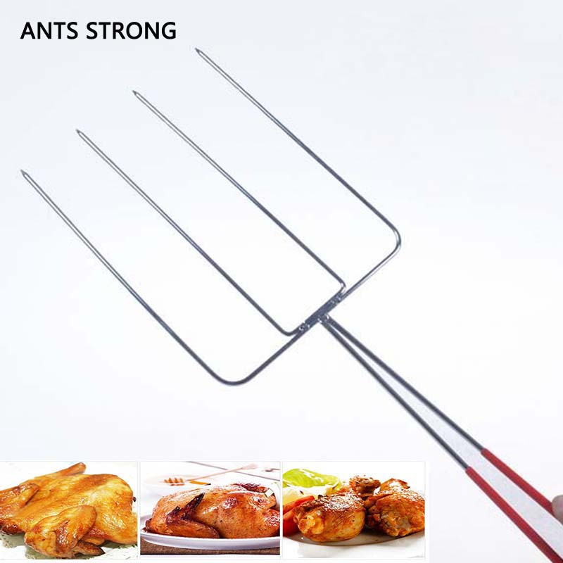 ANTS STRONG Oven roasting poultry chicken fork/2pcs outdoor household barbecue four teeth meat forks needle BBQ tools