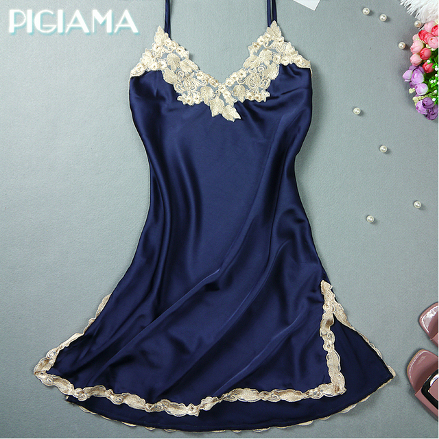 Sexy Nightgowns Embroidered Mini Night Dress V-Neck Silk Lace Nightie  Sleepwear Women s Dresses Shirt 9d0ca8c10