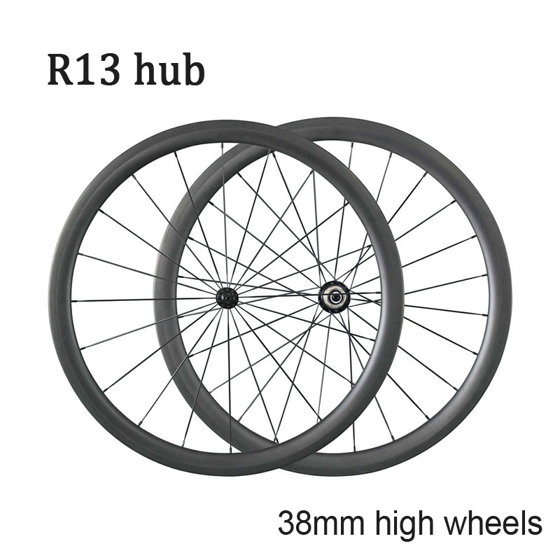Free shipping carbon clincher wheelset 38mm tubular road bike wheels with R13 hub(China (Mainland))