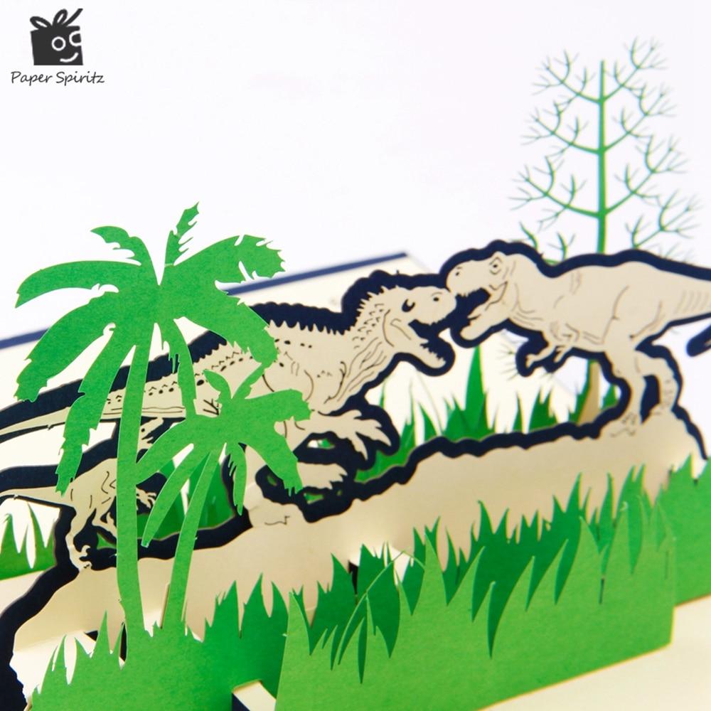 10pcs Dinosaur 3D laser cut pop up paper Holiday birthday handmade Vintage post cards custom christmas greeting gift cards 1801B