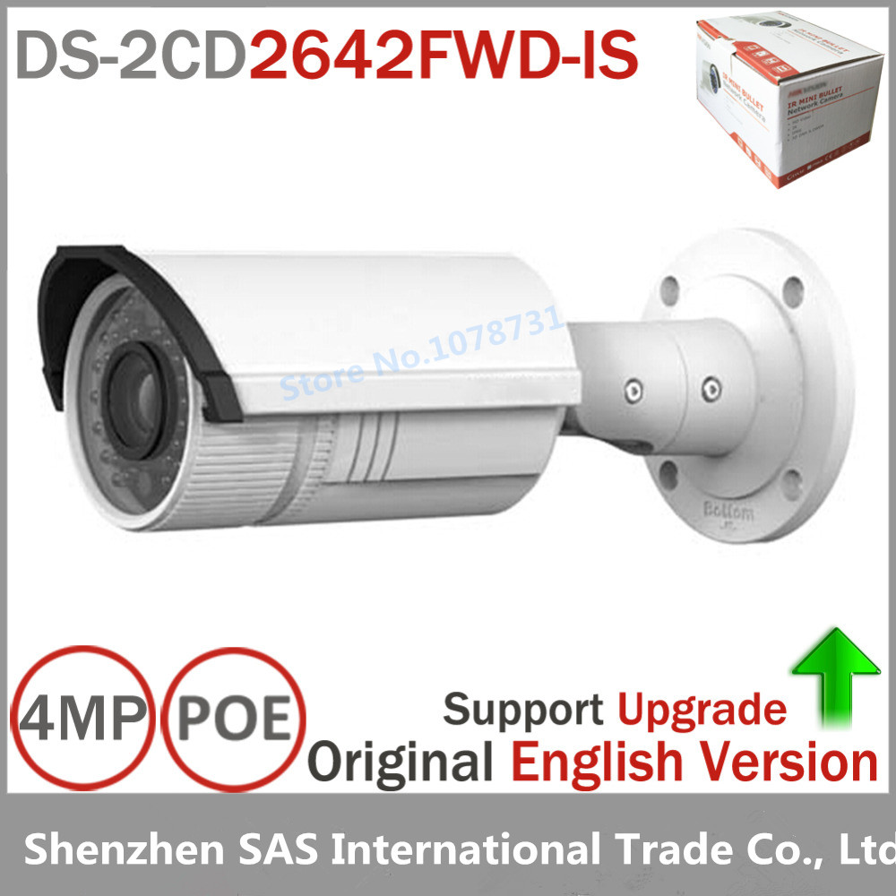 Hikvision IP Camera DS-2CD2642FWD-IS 4MP WDR Vari-focal Network Camera HD 1080p Real Time Video IR Bullet POE Cctv Camera hik origina ds 2cd2642fwd is 4mp wdr 2 7 12mm vari focal lens network hd bullet poe cctv camera