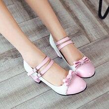ORATEE tamaño grande 33-43 mujeres bombas Sweet Bowtie zapatos Vintage grueso tacones altos fiesta boda Prom Calzado Mujer Zapatos mujer