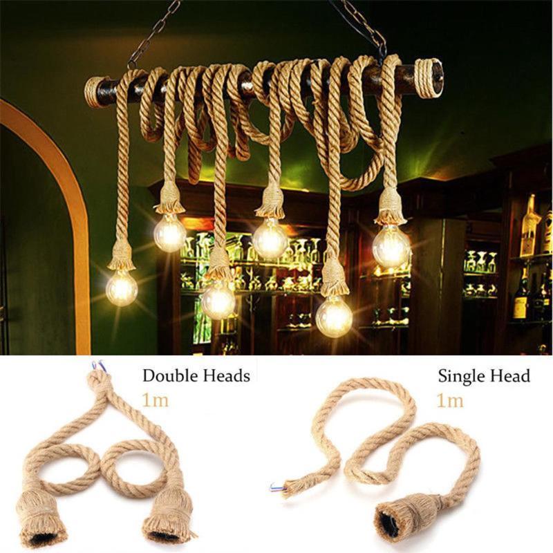 100/150cm Vintage Hemp Rope Electric Cord Wire For DIY E27 Edison Bulb Pendant Light Decor Lamp Single Natural Jute Light Blub