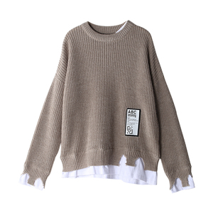 Image 5 - Toyouth Womens Sweater 2018 Patchwork Pullovers Knitted Sweater For Women Crew Neck Long Sleeve Irregular Female Jumpe Tops