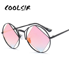 COOLSIR Round Sunglasses Women Men 2019 Square Hollow Out Sun Glasses Personality Cool Festival Party Goggles UV Oculos De Sol cool hollow out cycling mirrored sunglasses