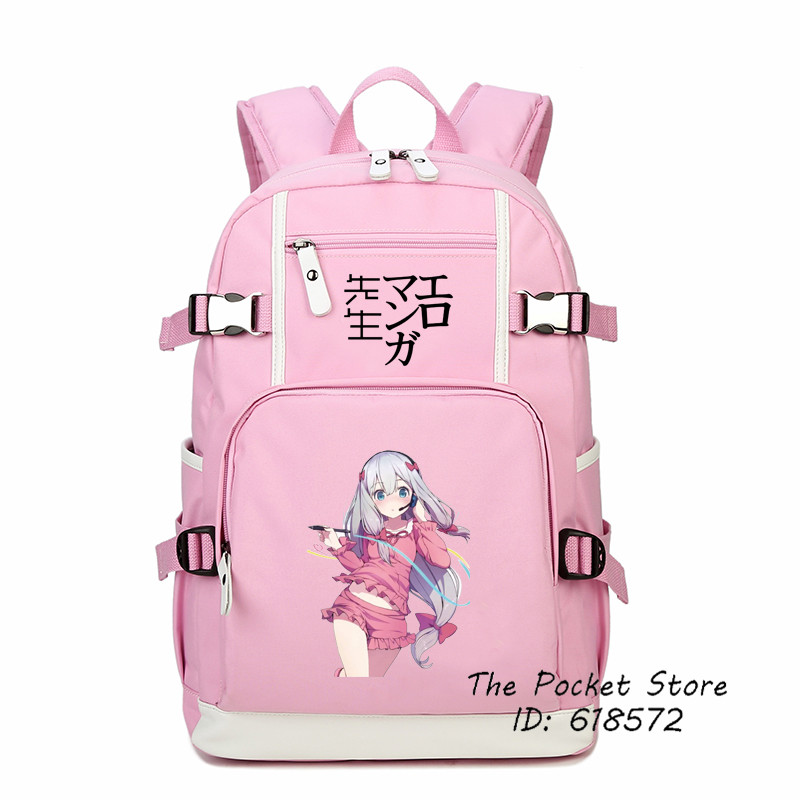 2017 Eromanga Sensei Izumi Sagiri Cosplay Printing Backpack Kawaii Pink Women Backpack School Bags for Girls Canvas Laptop Bags new card captor sakura printing backpack kawaii women shoulder bags sakura laptop backpack canvas school bags for teenage girls