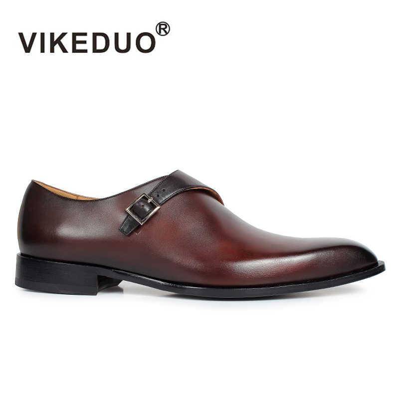 90957d99c788 ... VIKEDUO 2019 классический Италия обувь ручной работы для мужчин патина  заказ на заказ Blake из натуральной ...