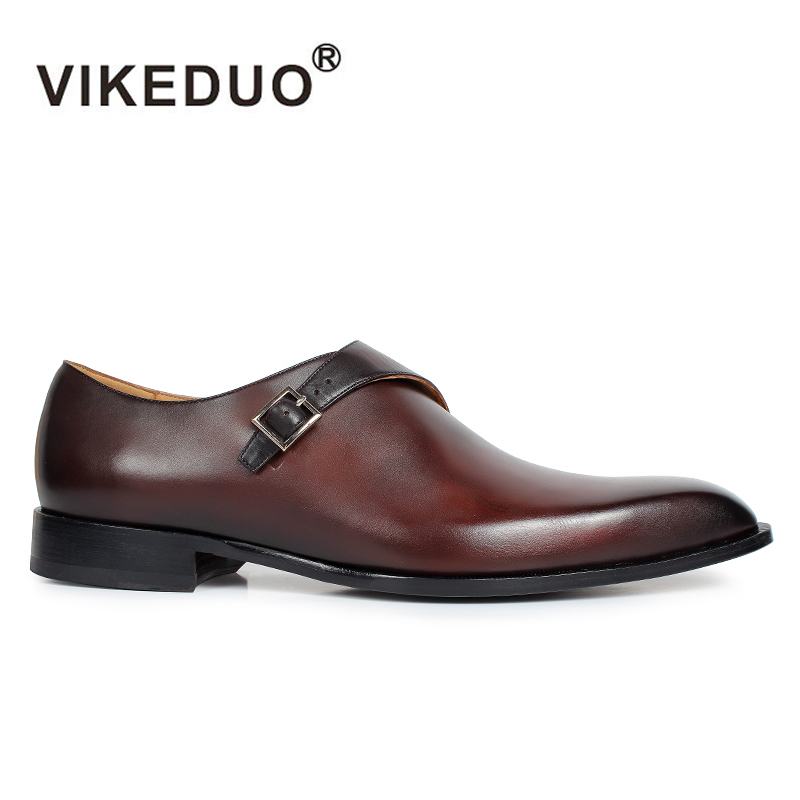 Vikeduo 2018 hot Vintage Custom Made Genuine Leather Wedding Party dance Business Gentleman shoe Unique Design Men Monk Shoes 2017 vintage retro custom men flat hot sale real mens oxford shoes dress wedding party genuine leather shoes original design