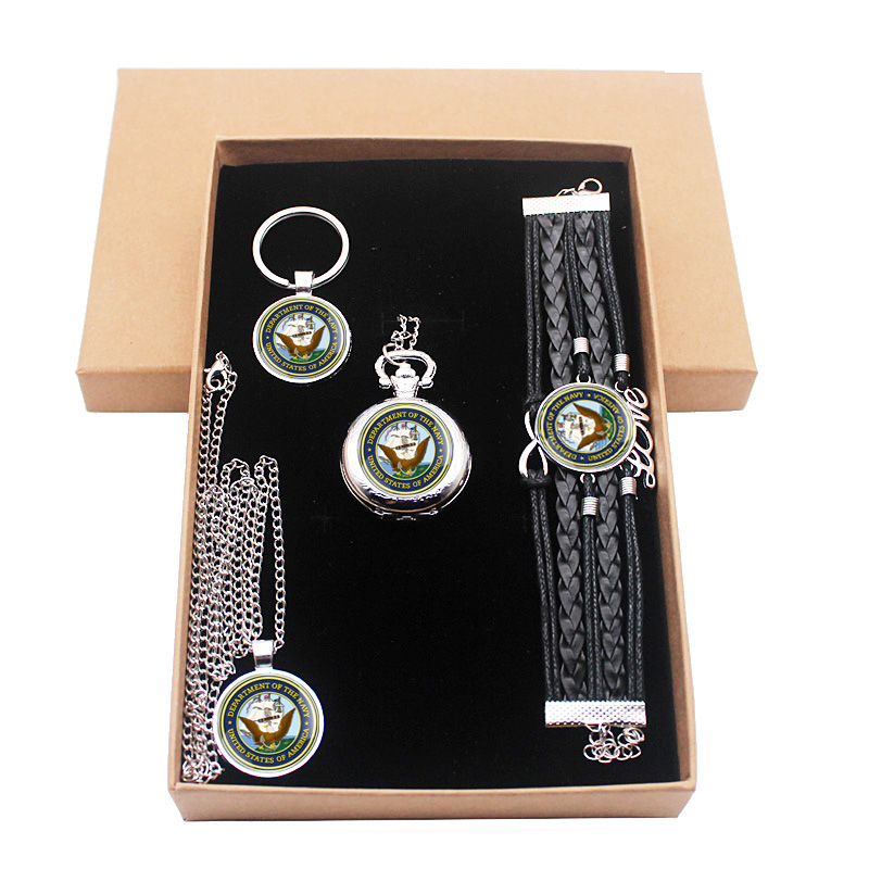Fashion Classic United States Navy Jewelry Gift Set Have Pocket Watch And Pendant Necklace And Key Chain Bracelet With Gift Box