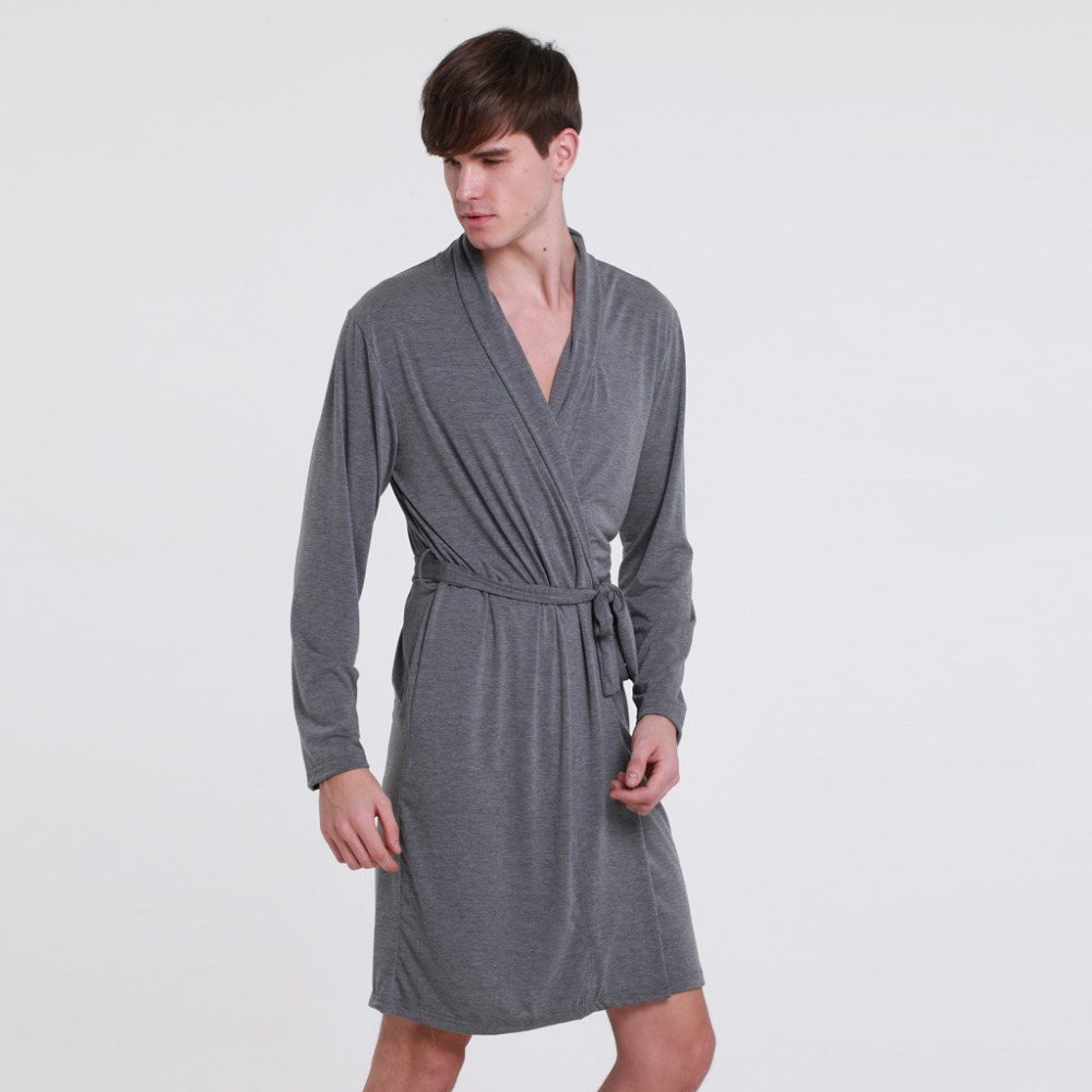 Fashion Men's Cotton Bathrobe With Belt Handsome Summer Sleepwear Long Sleeve Home Wear Thin Men's Pajamas Pijama Hombre 2019
