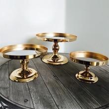 Роскошный Золотой торт украшения Свадебный Стол подставки для пирога Макаруны пончики леденцы зеркальная сковорода десертная Фруктовая тарелка подставка для кексов