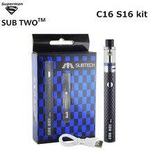 Original New S16 tank C16 kit Electronic cigarette airflow control atomizer Ceramic Coil 900mah battery vaporizer vape pen