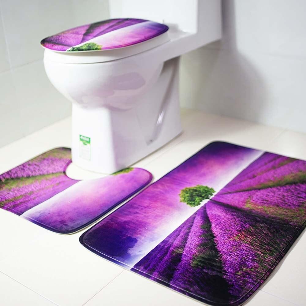 3Pcs-set-Flannel-font-b-Lavender-b-font-Conch-Bathroom-Mat-font-b-Bath-b-font lavender bath rug