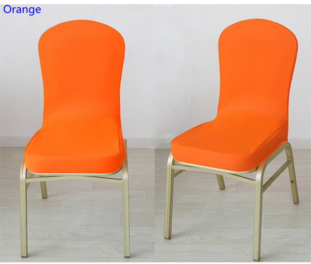 Charmant Orange Colour Spandex Half Chair Covers For Wedding Chair Decoration Lycra  Stretch Party Chair Cover For