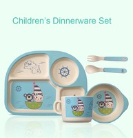 5pcs Set Bamboo Fiber Children Tableware Set Baby Dinnerware Plate Dishes Bowl With Spoon Dinnerware Feeding