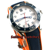 41mm bliger white dial Rubber strap blue ceramic bezel sapphire glass date Mechanical automatic mens watch Mechanical Watches     -