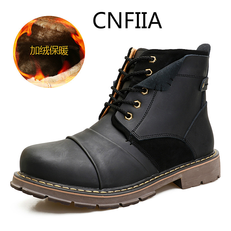 CNFIIA Men Winter Boots Fur Genuine Leather Shoes Men Waterproof Male Boots Winter with Fur 2018 Warm Snow Boots Black Brown New globe panther golden brown fur