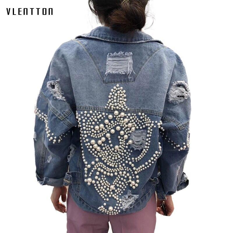 2019 printemps Vintage Jeans veste femmes Harajuku perles perles perles décontracté lâche Denim vestes manteau vêtements de dessus pour femmes Casaco Feminino