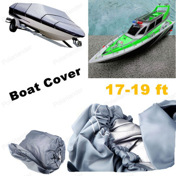 Wholesell 210D Speedboat  Fishing Boat Cover Accessories Car Covers 17-19ft Sunnproof Fish Ski V-Hull Waterproof UV Protected