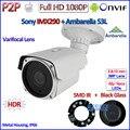H.265 Câmera Ao Ar Livre 1080 P IP Cam Sensor de 2MP IMX290 telecamere IP Ambarella Night Vision P2P, ONVIF, Lente Varifocal, HDR, Suporte