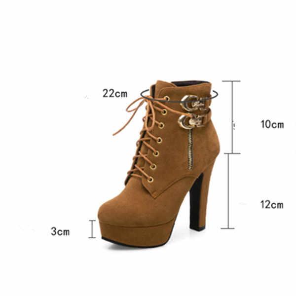 YMECHIC 2018 Bayan Sonbahar Çapraz Kravat Toka Gotik Platformu Kaya Yüksek Topuklu Akın Ayak Bileği Kısa Askeri çizmeler kadın ayakkabıları Artı Boyutu