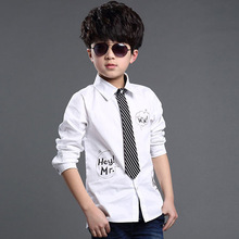 ActhInK NewDesign Kids Formal Dress Shirts with Tie for Boys Brand Preppy Style Letter Print Big Boys Formal Wedding Shirts,C012