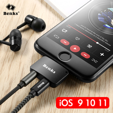 Benks For iPhone 7 8 Plus 2 in 1 Audio Charging Adapter iOS 11 3.5mm Headphone Jack AUX Charger Connector Converter For iPhone7