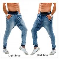 2019 New Fashion Joggers Run Men's Pants Jeans High waist Cool Man Washed Slim Denim shorts men belt Solid Trousers Male